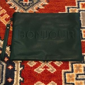 Street Level green Faux leather zippered Clutch